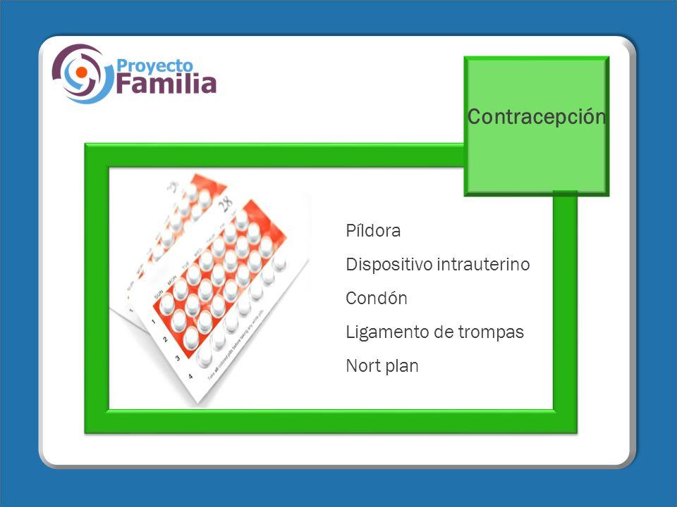 Contracepción Píldora Dispositivo intrauterino Condón Ligamento de trompas Nort plan