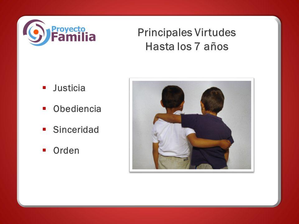Principales Virtudes Hasta los 7 años Justicia Obediencia Sinceridad Orden