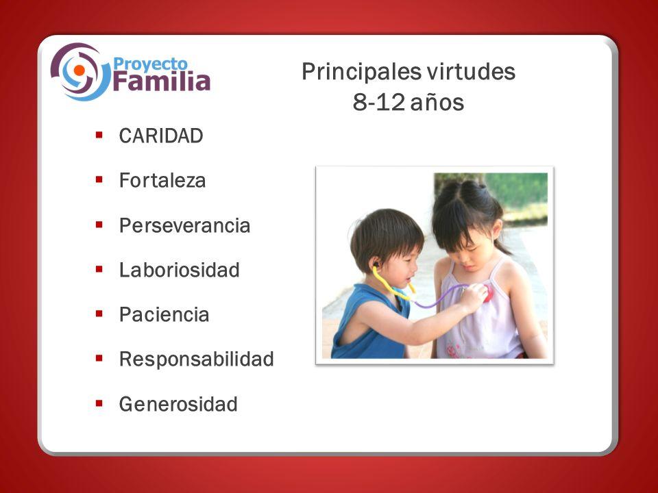 Principales virtudes 8-12 años CARIDAD Fortaleza Perseverancia Laboriosidad Paciencia Responsabilidad Generosidad
