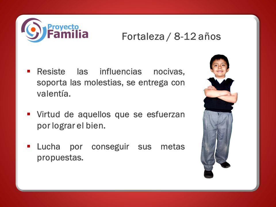 Fortaleza / 8-12 años Resiste las influencias nocivas, soporta las molestias, se entrega con valentía.