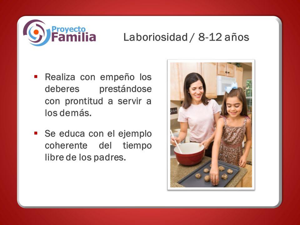Realiza con empeño los deberes prestándose con prontitud a servir a los demás. Se educa con el ejemplo coherente del tiempo libre de los padres. Labor