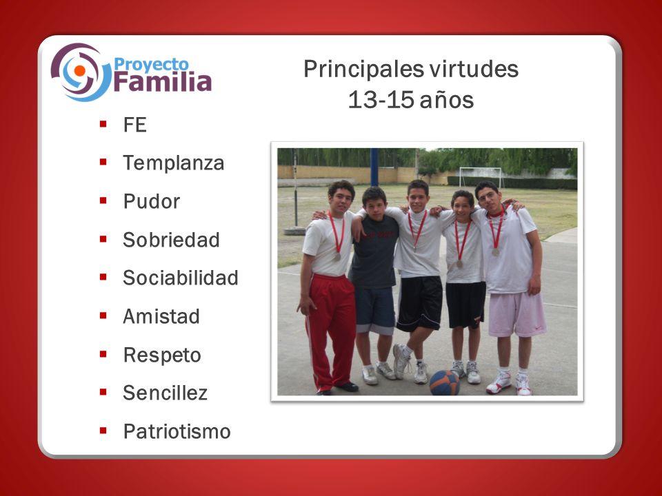 Principales virtudes 13-15 años FE Templanza Pudor Sobriedad Sociabilidad Amistad Respeto Sencillez Patriotismo