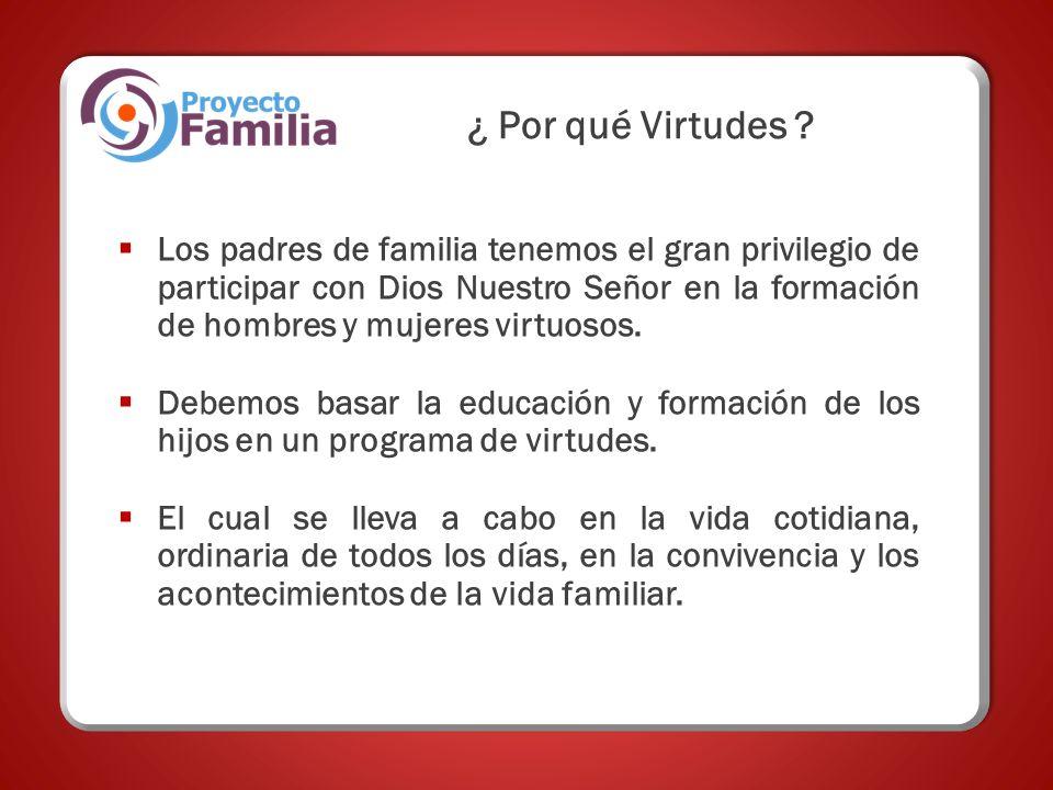 Los padres de familia tenemos el gran privilegio de participar con Dios Nuestro Señor en la formación de hombres y mujeres virtuosos.