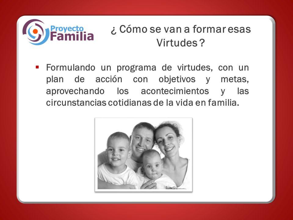 ¿ Cómo se van a formar esas Virtudes ? Formulando un programa de virtudes, con un plan de acción con objetivos y metas, aprovechando los acontecimient
