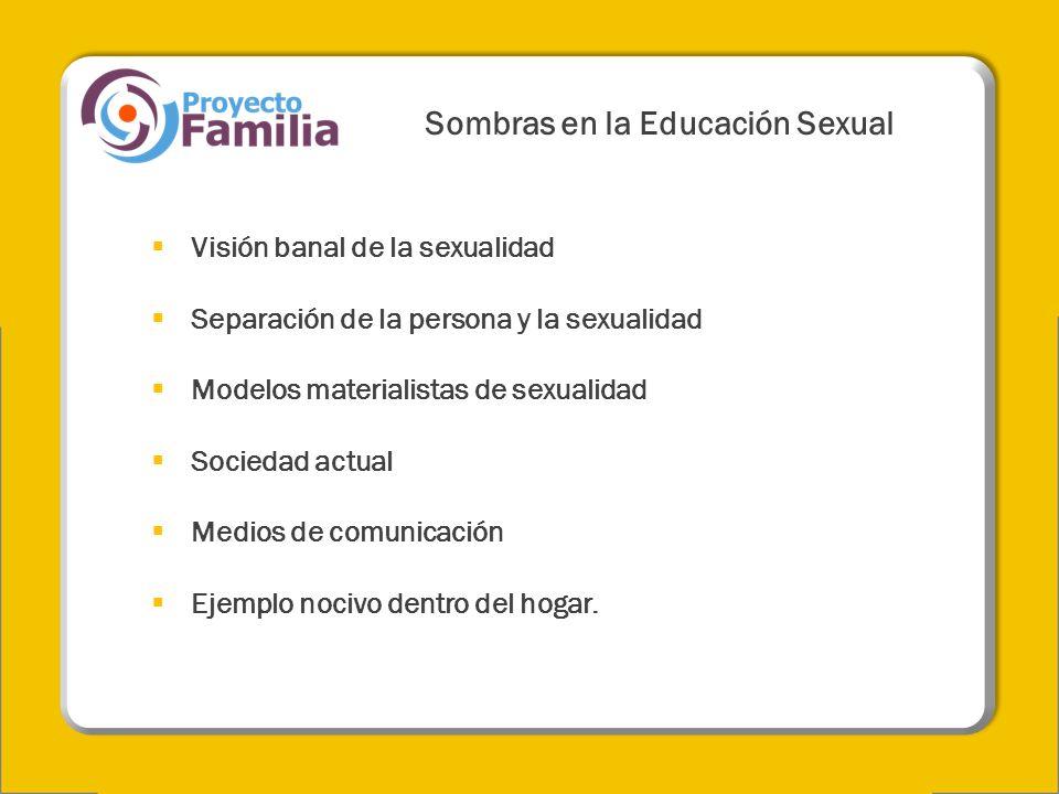 Sombras en la Educación Sexual Visión banal de la sexualidad Separación de la persona y la sexualidad Modelos materialistas de sexualidad Sociedad act