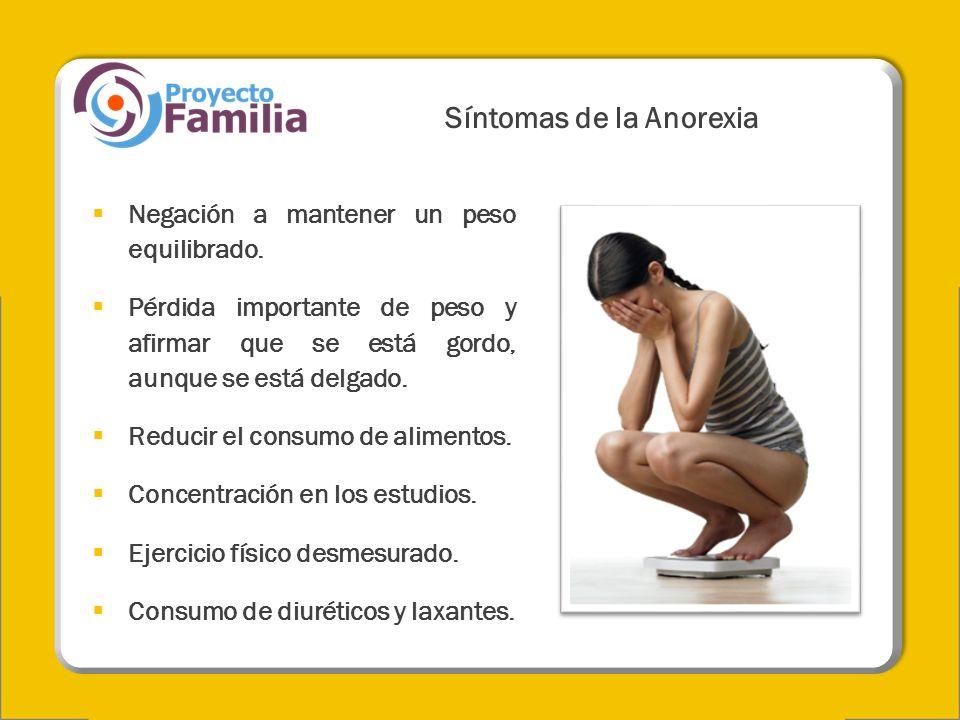Síntomas de la Anorexia Negación a mantener un peso equilibrado. Pérdida importante de peso y afirmar que se está gordo, aunque se está delgado. Reduc