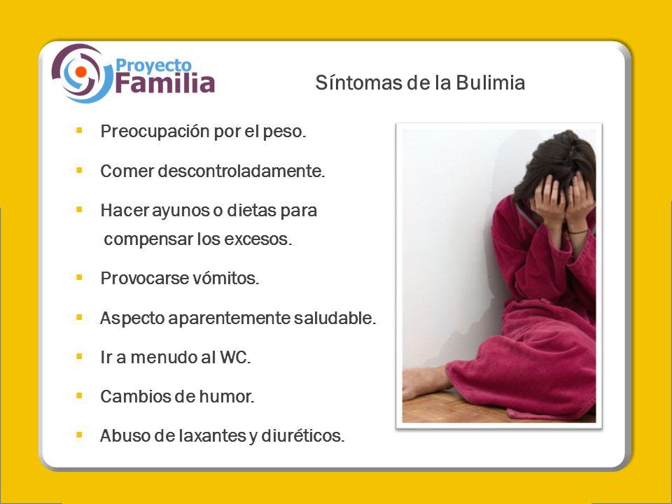 Síntomas de la Bulimia Preocupación por el peso. Comer descontroladamente. Hacer ayunos o dietas para compensar los excesos. Provocarse vómitos. Aspec
