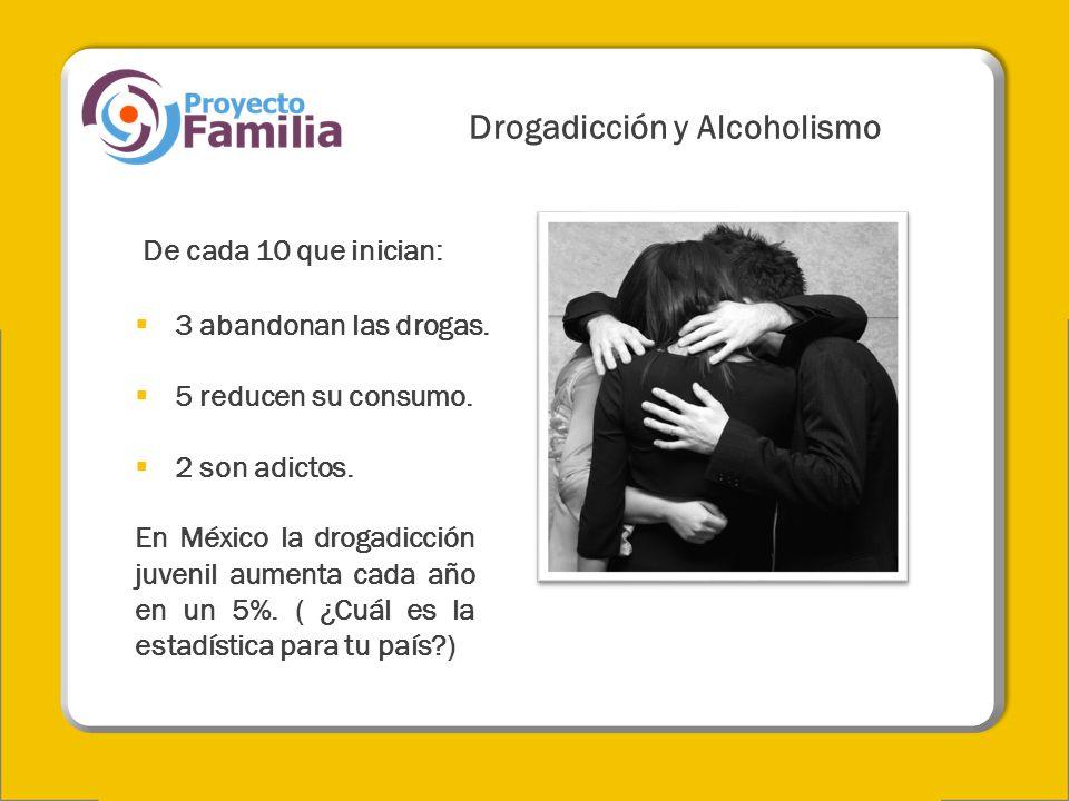Drogadicción y Alcoholismo De cada 10 que inician: 3 abandonan las drogas. 5 reducen su consumo. 2 son adictos. En México la drogadicción juvenil aume