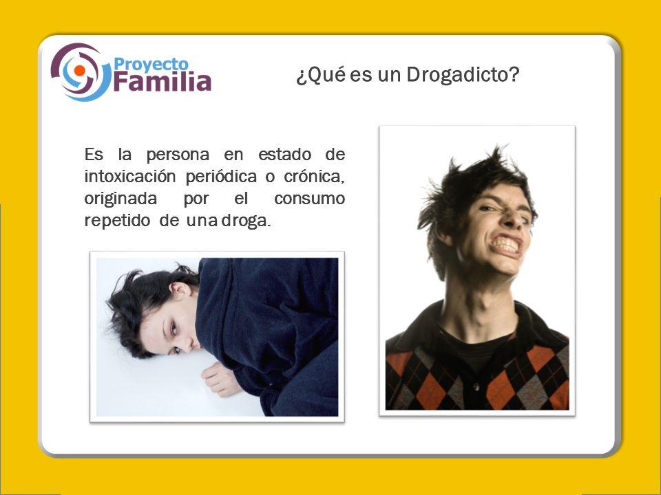 ¿Qué es un Drogadicto? Es la persona en estado de intoxicación periódica o crónica, originada por el consumo repetido de una droga.