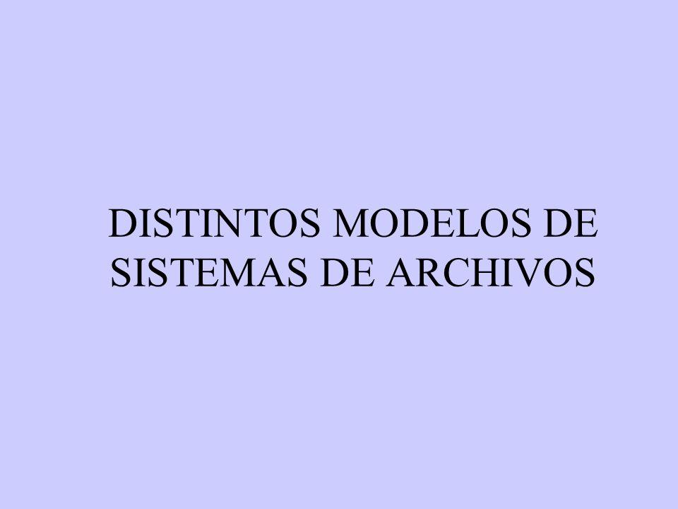 DISTINTOS MODELOS DE SISTEMAS DE ARCHIVOS