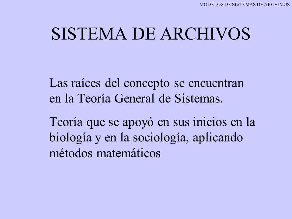 SISTEMA DE ARCHIVOS Las raíces del concepto se encuentran en la Teoría General de Sistemas. Teoría que se apoyó en sus inicios en la biología y en la
