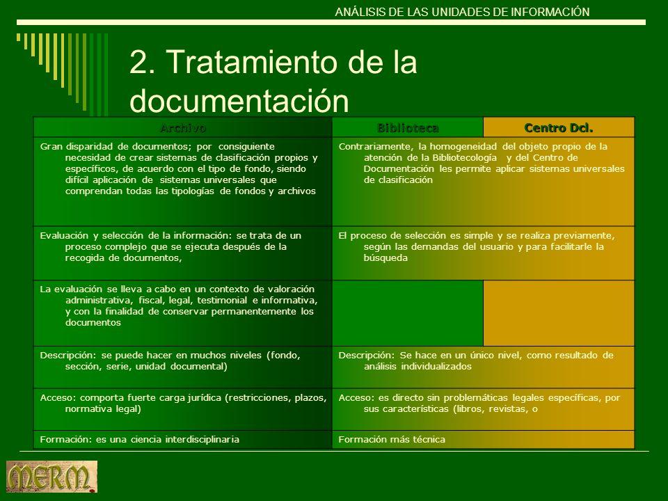 2. Tratamiento de la documentación ArchivoBiblioteca Centro Dcl. Gran disparidad de documentos; por consiguiente necesidad de crear sistemas de clasif