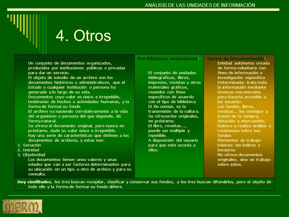 4. Otros Archivo lo caracteriza como: o Un conjunto de documentos organizados, producidos por instituciones públicas o privadas para dar un servicio.