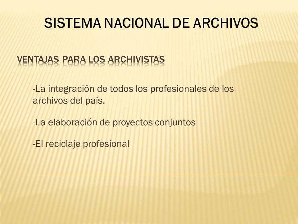 -La integración de todos los profesionales de los archivos del país. -La elaboración de proyectos conjuntos -El reciclaje profesional SISTEMA NACIONAL