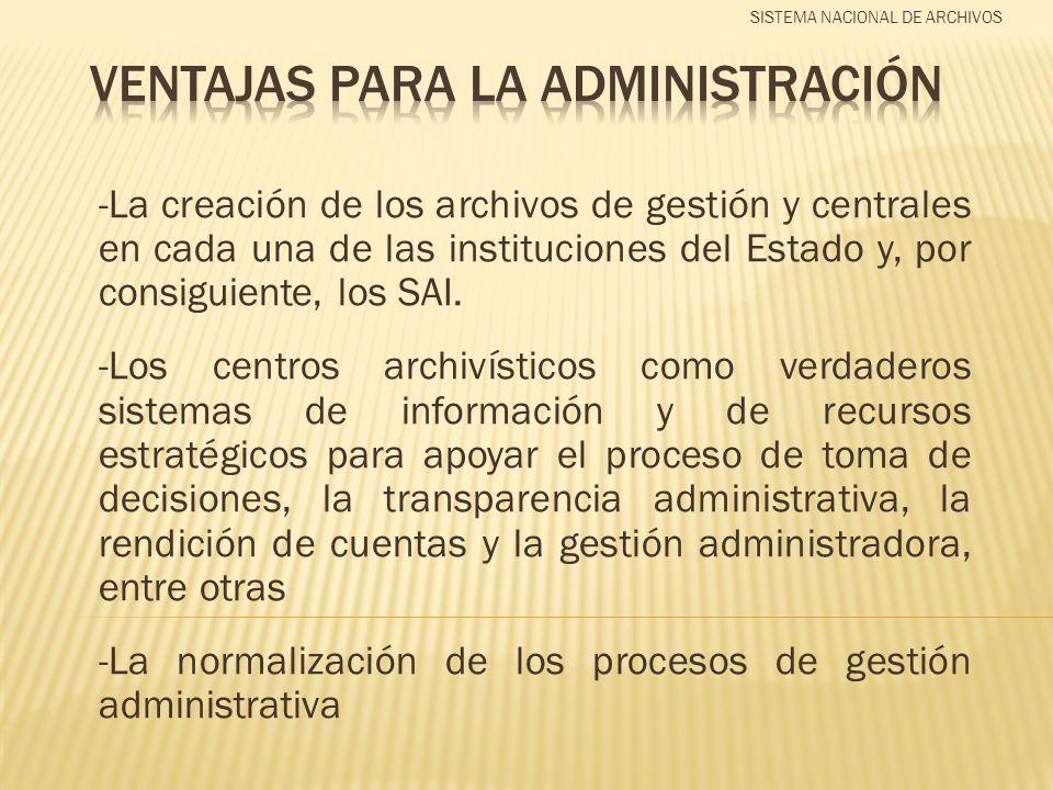 -La creación de los archivos de gestión y centrales en cada una de las instituciones del Estado y, por consiguiente, los SAI. -Los centros archivístic