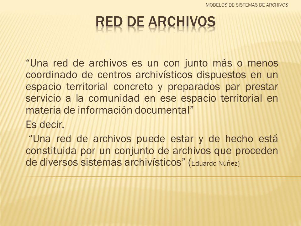 Una red de archivos es un con junto más o menos coordinado de centros archivísticos dispuestos en un espacio territorial concreto y preparados par pre