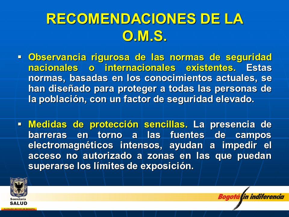 RECOMENDACIONES DE LA O.M.S. Observancia rigurosa de las normas de seguridad nacionales o internacionales existentes. Estas normas, basadas en los con