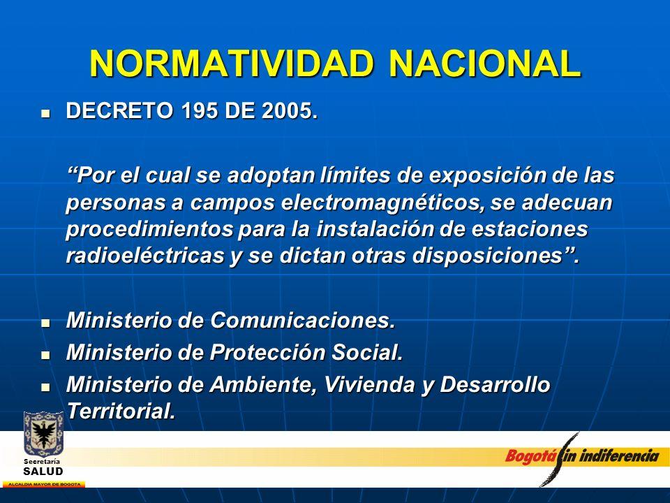 NORMATIVIDAD NACIONAL DECRETO 195 DE 2005. DECRETO 195 DE 2005. Por el cual se adoptan límites de exposición de las personas a campos electromagnético