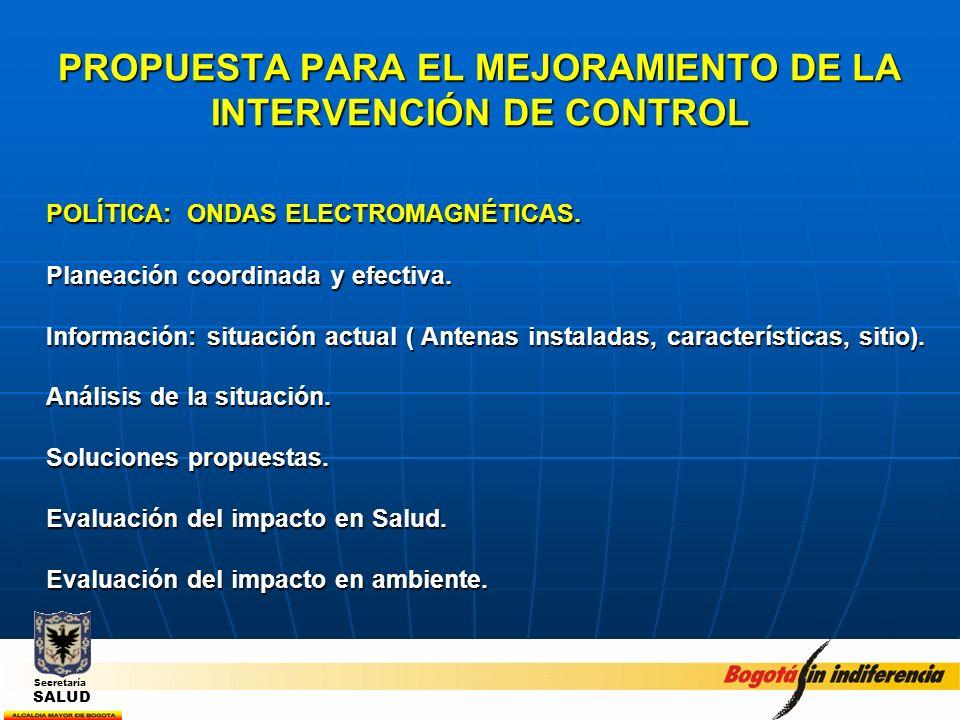 PROPUESTA PARA EL MEJORAMIENTO DE LA INTERVENCIÓN DE CONTROL POLÍTICA: ONDAS ELECTROMAGNÉTICAS. Planeación coordinada y efectiva. Información: situaci