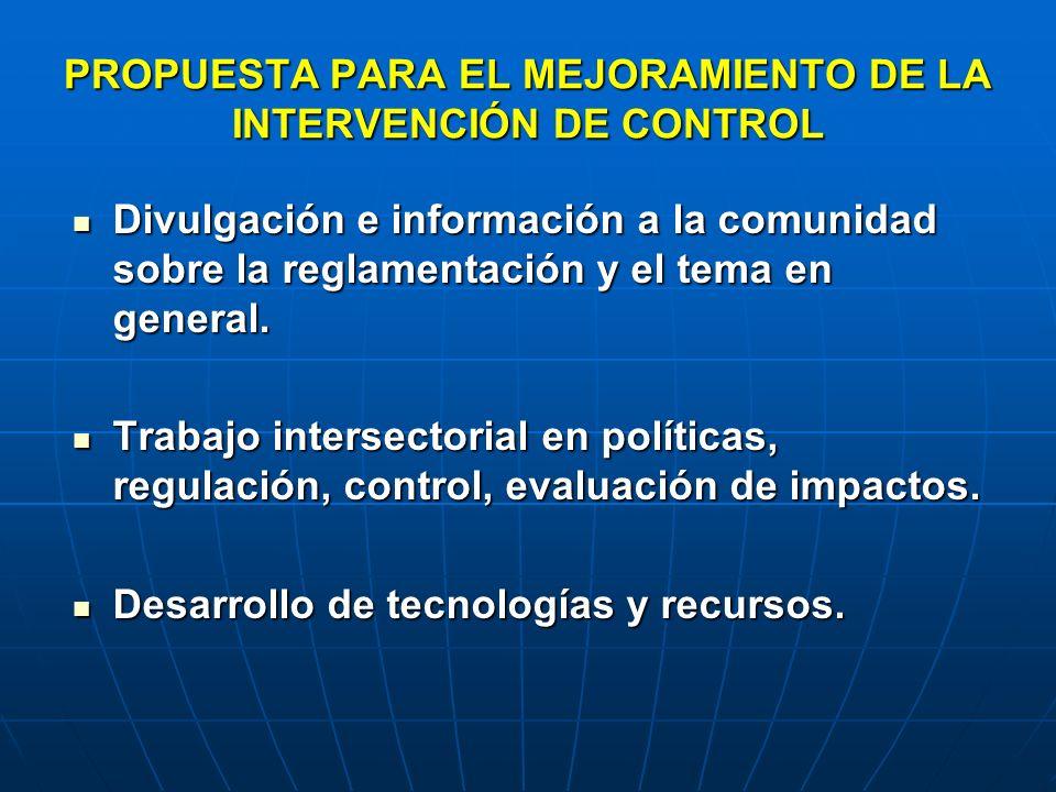 PROPUESTA PARA EL MEJORAMIENTO DE LA INTERVENCIÓN DE CONTROL Divulgación e información a la comunidad sobre la reglamentación y el tema en general. Di