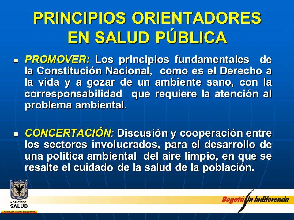 PRINCIPIOS ORIENTADORES EN SALUD PÚBLICA PROMOVER: Los principios fundamentales de la Constitución Nacional, como es el Derecho a la vida y a gozar de