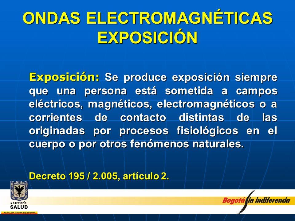 ONDAS ELECTROMAGNÉTICAS EXPOSICIÓN Exposición de público en general: Aquella donde las personas expuestas a ondas electromagnéticas no forman parte del personal que labora en una Estación radioeléctrica determinada; no obstante, están expuestas a las emisiones de campo electromagnético de radiofrecuencia producidas por dichas estaciones.