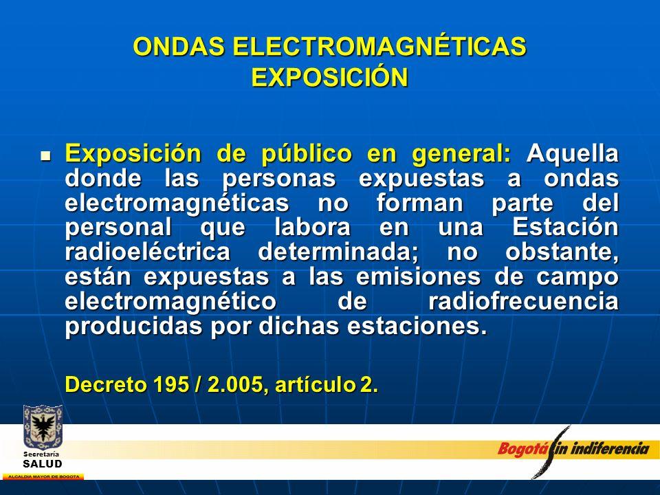 ONDAS ELECTROMAGNÉTICAS EXPOSICIÓN Exposición de público en general: Aquella donde las personas expuestas a ondas electromagnéticas no forman parte de