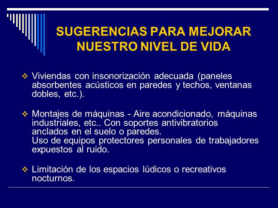 SUGERENCIAS PARA MEJORAR NUESTRO NIVEL DE VIDA Viviendas con insonorización adecuada (paneles absorbentes acústicos en paredes y techos, ventanas dobl