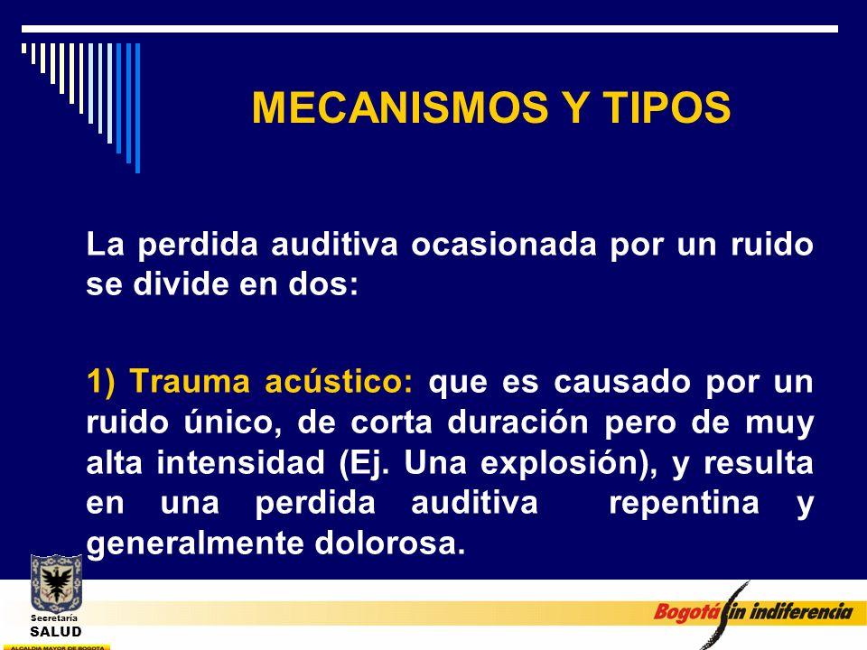 MECANISMOS Y TIPOS La perdida auditiva ocasionada por un ruido se divide en dos: 1) Trauma acústico: que es causado por un ruido único, de corta durac
