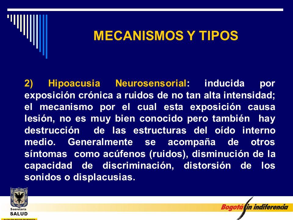 MECANISMOS Y TIPOS 2) Hipoacusia Neurosensorial: inducida por exposición crónica a ruidos de no tan alta intensidad; el mecanismo por el cual esta exp