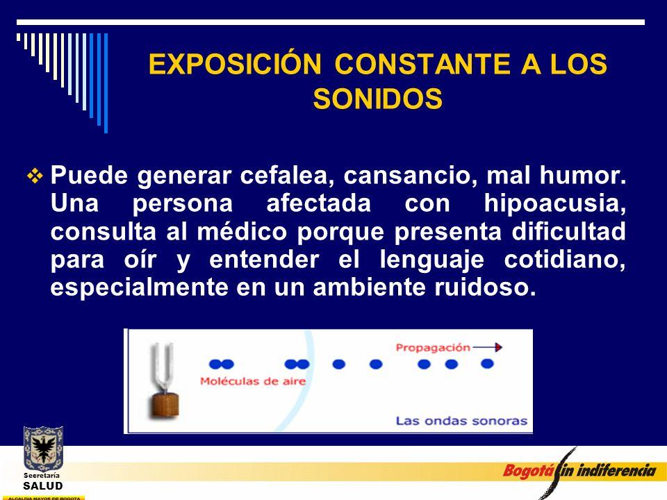 EXPOSICIÓN CONSTANTE A LOS SONIDOS Puede generar cefalea, cansancio, mal humor. Una persona afectada con hipoacusia, consulta al médico porque present