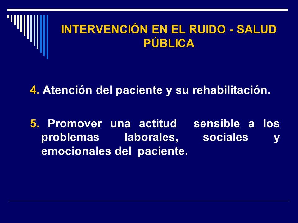 INTERVENCIÓN EN EL RUIDO - SALUD PÚBLICA 4. Atención del paciente y su rehabilitación. 5. Promover una actitud sensible a los problemas laborales, soc