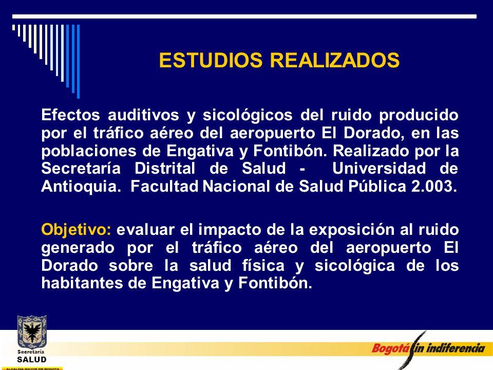 ESTUDIOS REALIZADOS Efectos auditivos y sicológicos del ruido producido por el tráfico aéreo del aeropuerto El Dorado, en las poblaciones de Engativa