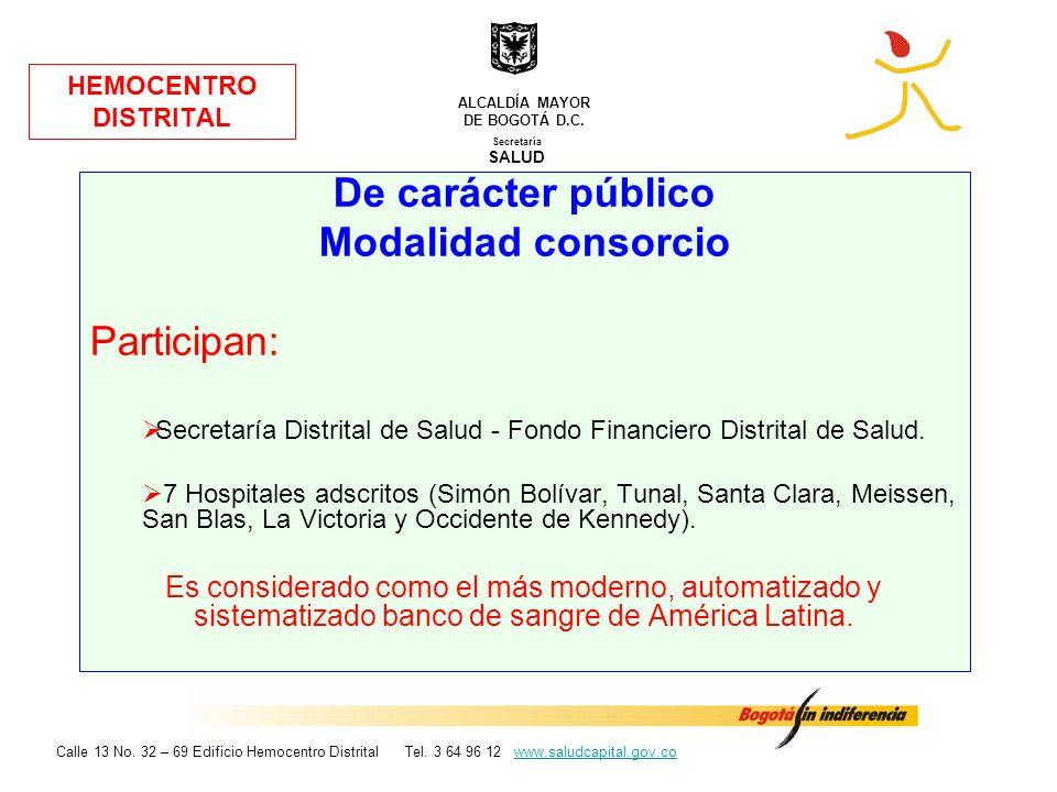 HEMOCENTRO DISTRITAL De carácter público Modalidad consorcio Participan: Secretaría Distrital de Salud - Fondo Financiero Distrital de Salud. 7 Hospit