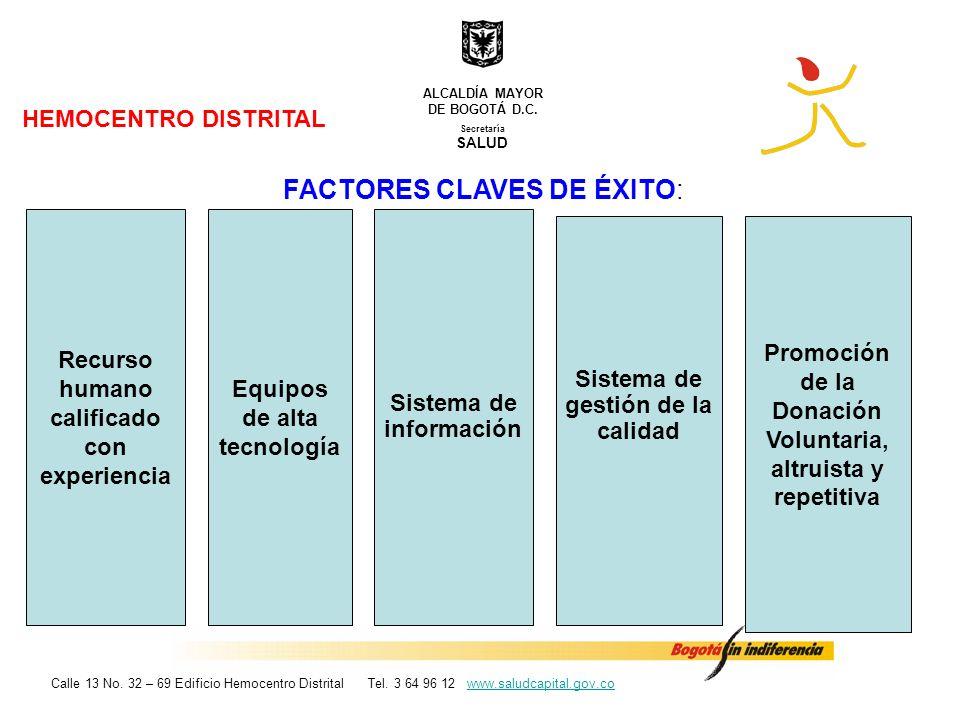 HEMOCENTRO DISTRITAL FACTORES CLAVES DE ÉXITO: Secretaría SALUD ALCALDÍA MAYOR DE BOGOTÁ D.C. Calle 13 No. 32 – 69 Edificio Hemocentro Distrital Tel.