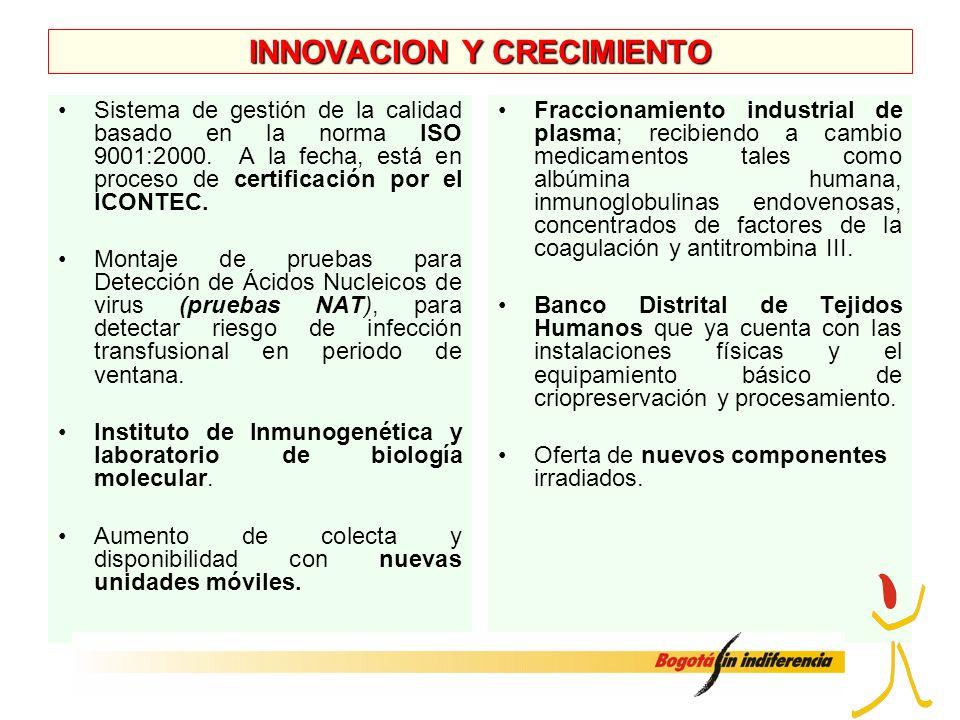 INNOVACION Y CRECIMIENTO Sistema de gestión de la calidad basado en la norma ISO 9001:2000. A la fecha, está en proceso de certificación por el ICONTE