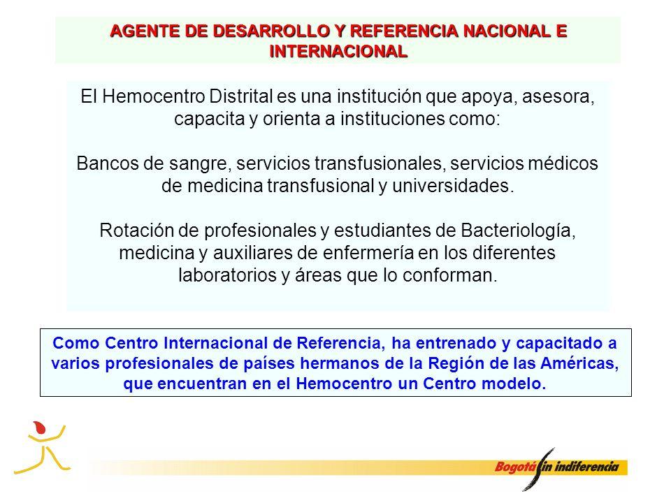 AGENTE DE DESARROLLO Y REFERENCIA NACIONAL E INTERNACIONAL El Hemocentro Distrital es una institución que apoya, asesora, capacita y orienta a institu