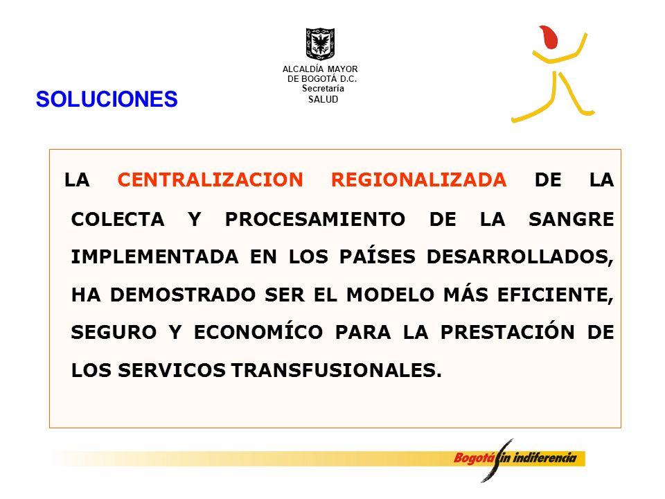 SOLUCIONES LA CENTRALIZACION REGIONALIZADA DE LA COLECTA Y PROCESAMIENTO DE LA SANGRE IMPLEMENTADA EN LOS PAÍSES DESARROLLADOS, HA DEMOSTRADO SER EL M