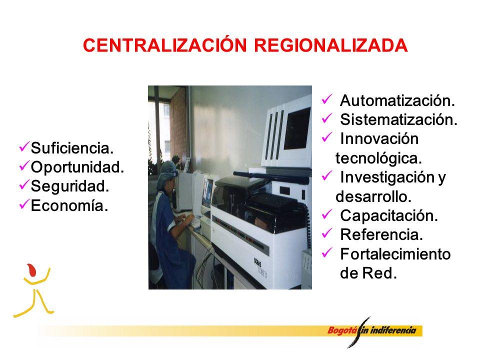 CENTRALIZACIÓN REGIONALIZADA Suficiencia. Oportunidad. Seguridad. Economía. Automatización. Sistematización. Innovación tecnológica. Investigación y d