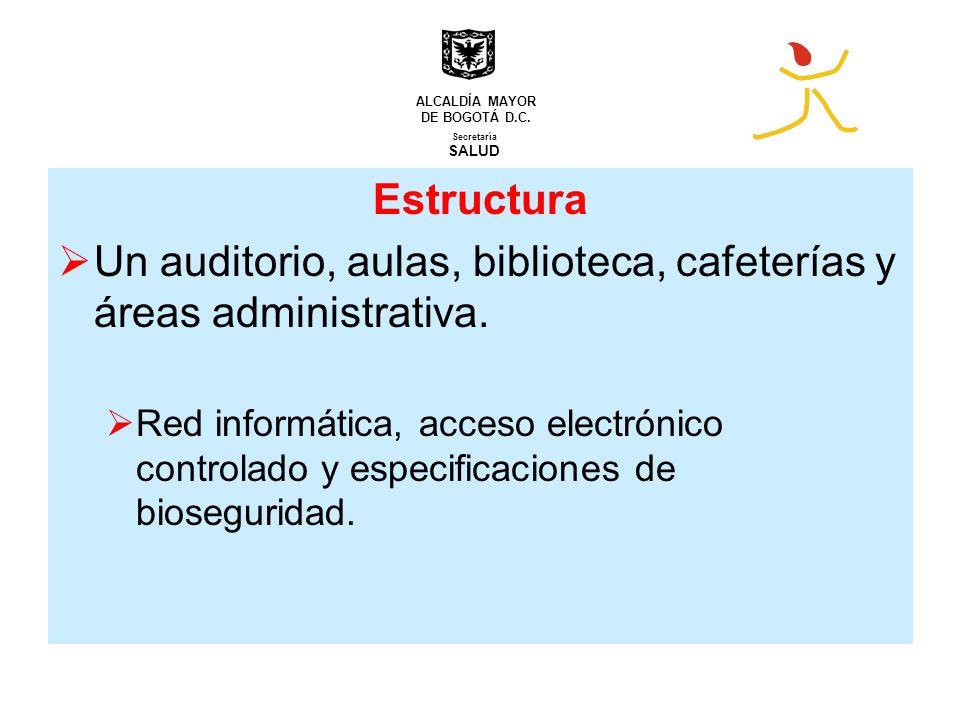 Estructura Un auditorio, aulas, biblioteca, cafeterías y áreas administrativa. Red informática, acceso electrónico controlado y especificaciones de bi