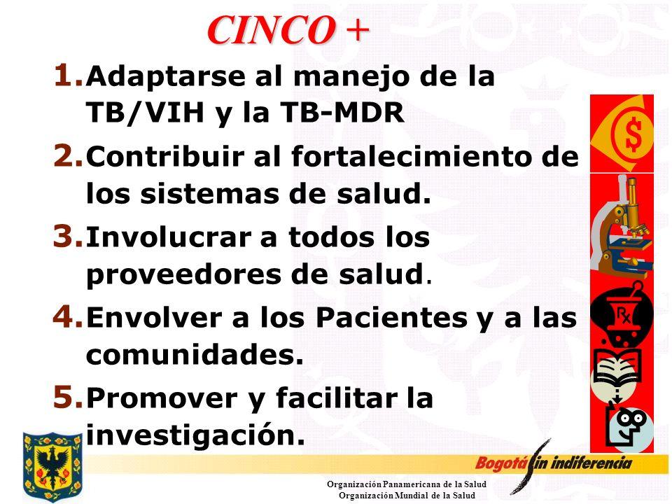 CINCO + 1. Adaptarse al manejo de la TB/VIH y la TB-MDR 2. Contribuir al fortalecimiento de los sistemas de salud. 3. Involucrar a todos los proveedor