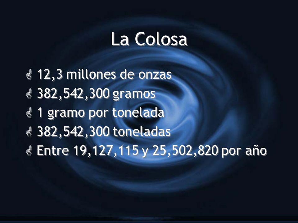 La Colosa G 12,3 millones de onzas G 382,542,300 gramos G 1 gramo por tonelada G 382,542,300 toneladas G Entre 19,127,115 y 25,502,820 por año G 12,3
