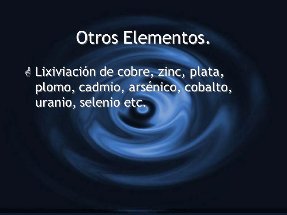 Otros Elementos. G Lixiviación de cobre, zinc, plata, plomo, cadmio, arsénico, cobalto, uranio, selenio etc.