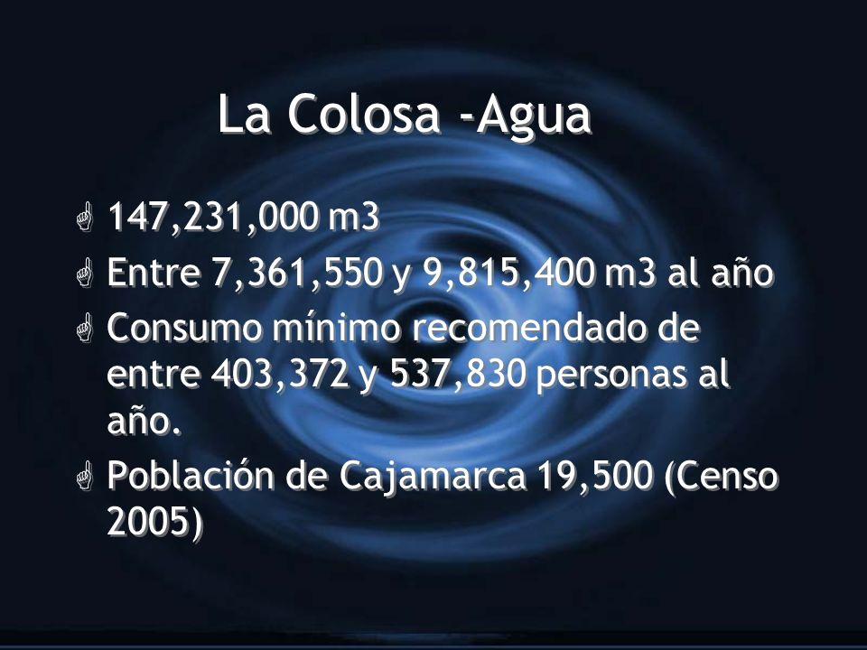 La Colosa -Agua G 147,231,000 m3 G Entre 7,361,550 y 9,815,400 m3 al año G Consumo mínimo recomendado de entre 403,372 y 537,830 personas al año. G Po