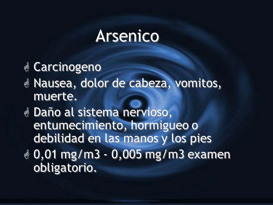 Arsenico G Carcinogeno G Nausea, dolor de cabeza, vomitos, muerte. G Daño al sistema nervioso, entumecimiento, hormigueo o debilidad en las manos y lo