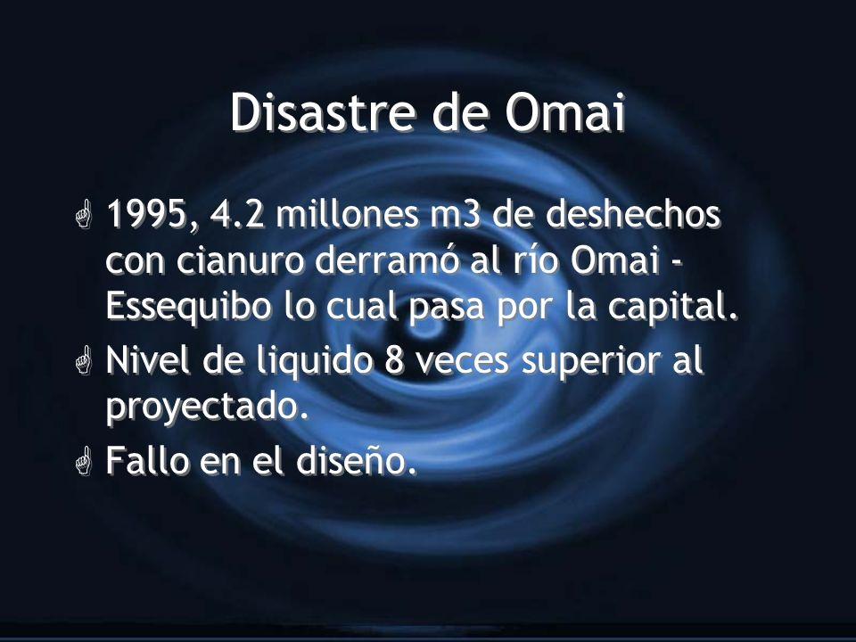 Disastre de Omai G 1995, 4.2 millones m3 de deshechos con cianuro derramó al río Omai - Essequibo lo cual pasa por la capital. G Nivel de liquido 8 ve
