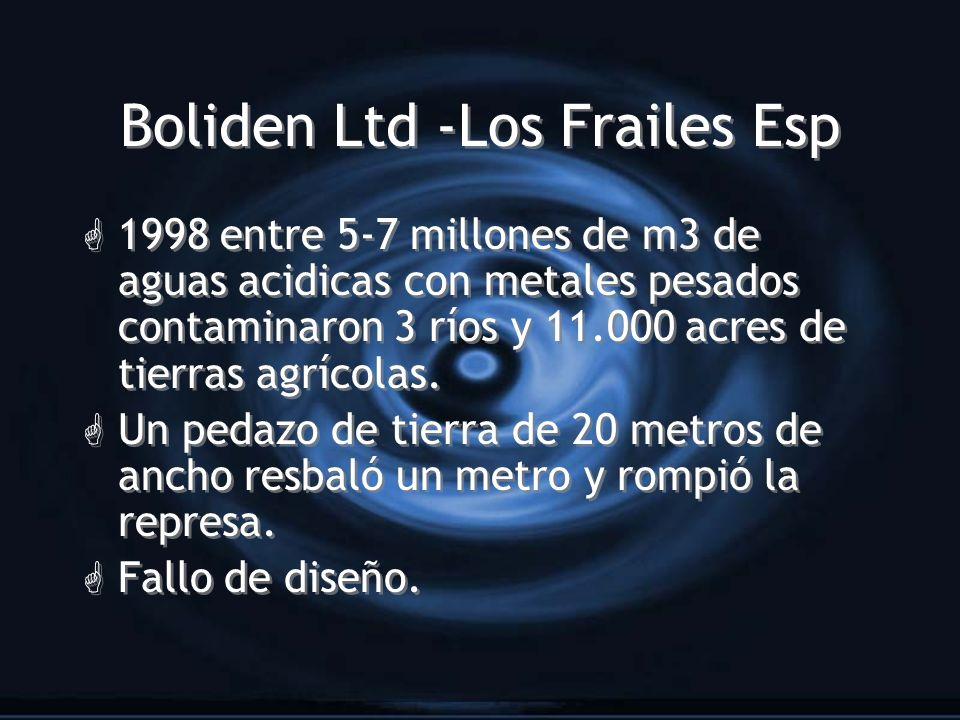 Boliden Ltd -Los Frailes Esp G 1998 entre 5-7 millones de m3 de aguas acidicas con metales pesados contaminaron 3 ríos y 11.000 acres de tierras agríc