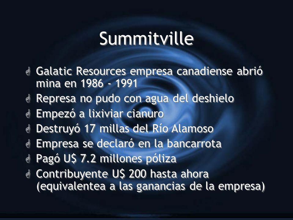 Summitville G Galatic Resources empresa canadiense abrió mina en 1986 - 1991 G Represa no pudo con agua del deshielo G Empezó a lixiviar cianuro G Des