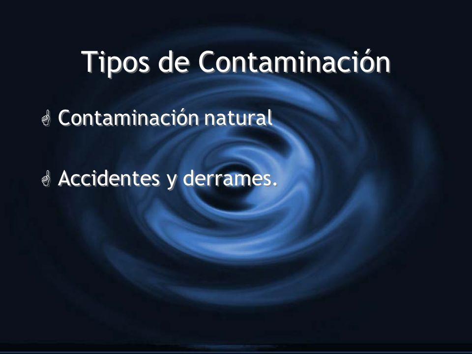 Tipos de Contaminación G Contaminación natural G Accidentes y derrames. G Contaminación natural G Accidentes y derrames.