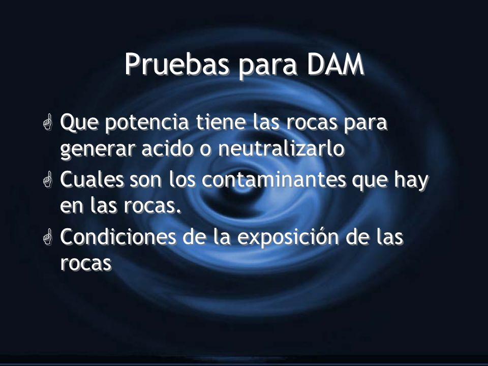 Pruebas para DAM G Que potencia tiene las rocas para generar acido o neutralizarlo G Cuales son los contaminantes que hay en las rocas. G Condiciones